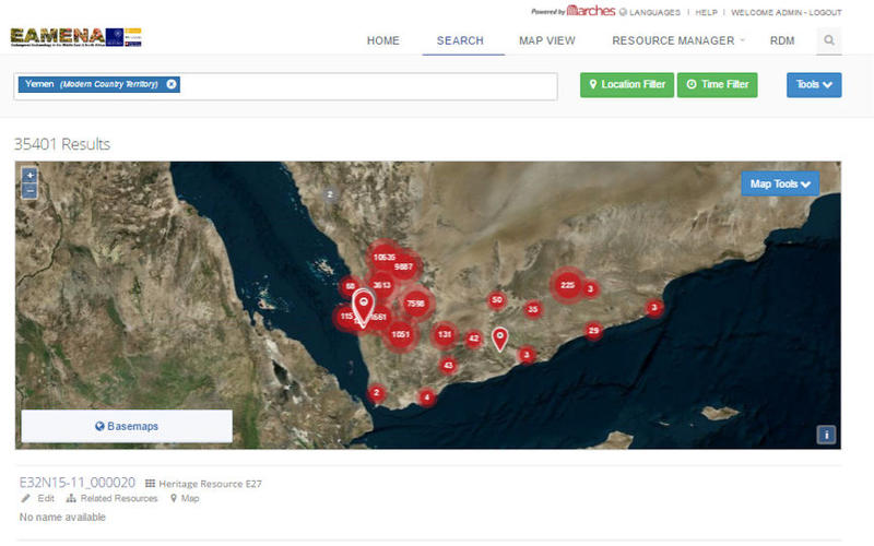 A screenshot of the EAMENA ARCHES platform with distribution of currently entered sites for Yemen