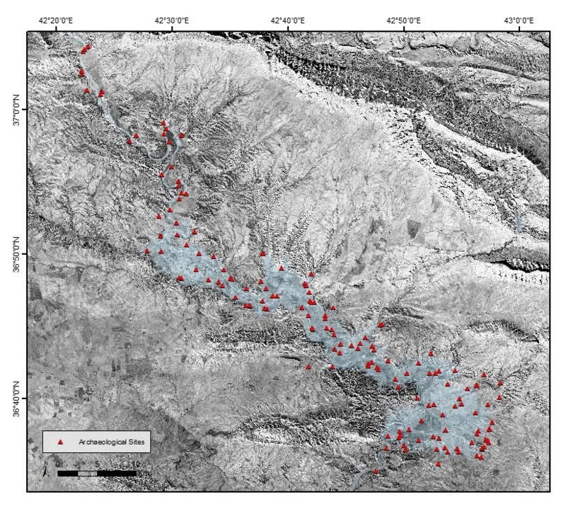 Figure 3 - The archaeological Sites of the Mosul Dam Reservoir Survey on a CORONA 1102 photomosaic (Dec 1967, courtesy USGS). Credits: F.Simi and P. Sconzo.