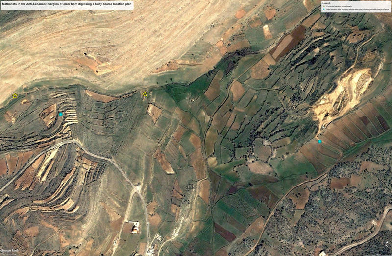Figure B, C. Using Google Earth imagery to help locate Mamluk water mills (mathanet) and settlements in the Anti-Lebanon, based on Bonatz 2002.