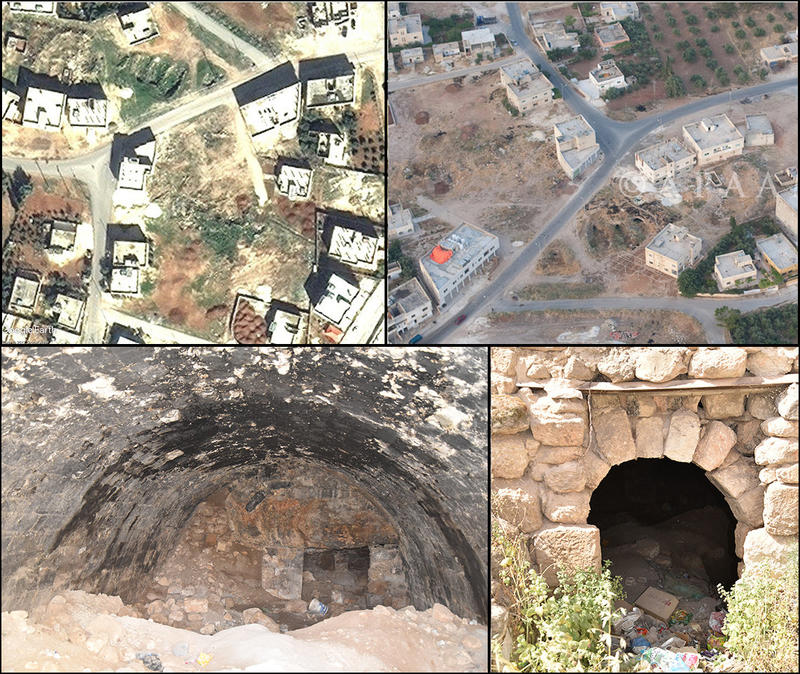 Figure 2: Kefeir Abu Kinan (MAD-0035). Top left: Satellite imagery from 2010 showing three large depressions, interpreted as cisterns (DigitalGlobe via Google Earth, 09/02/2010). Top right: Aerial photograph from 2010, showing the cisterns more clearly (A