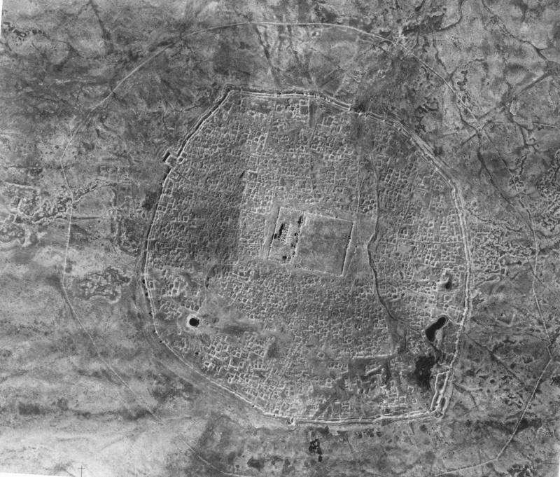 Mosaic of aerial photographs of Hatra (1938).