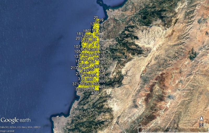 Potential archaeological features identified along the coastline of northern Lebanon.