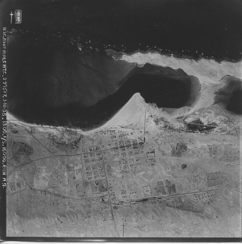 Figure 2. An example of a 1938 aerial photograph, showing the town of Mersa Matruh (EAMENA photo reference: EGYPT_113C_MATRUH_A9_1834)