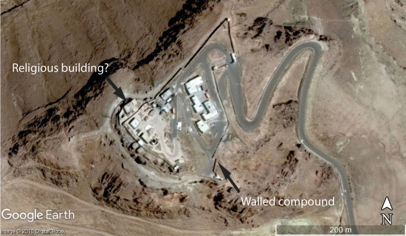 Figure 1. A satellite image of the summit of Jabal an Nabi Shu'ayb captured on the 20 March 2014. The mountaintop is dominated by the walled compound, with the probable religious structure located on the north-west side of the compound (DigitalGlobe via