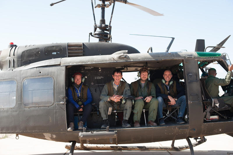 Andrea and the team on one of the last flights in the Huey. © APAAME_20151001-0240