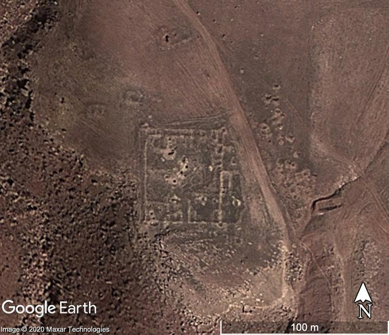 Fig.1. The foundations of a fortification with evidence of associated structure on a satellite image from 15 March 2015. Damage issues include the use of a dirt track and some potential looting pits. Map data: Google Earth, Maxar Technologies.