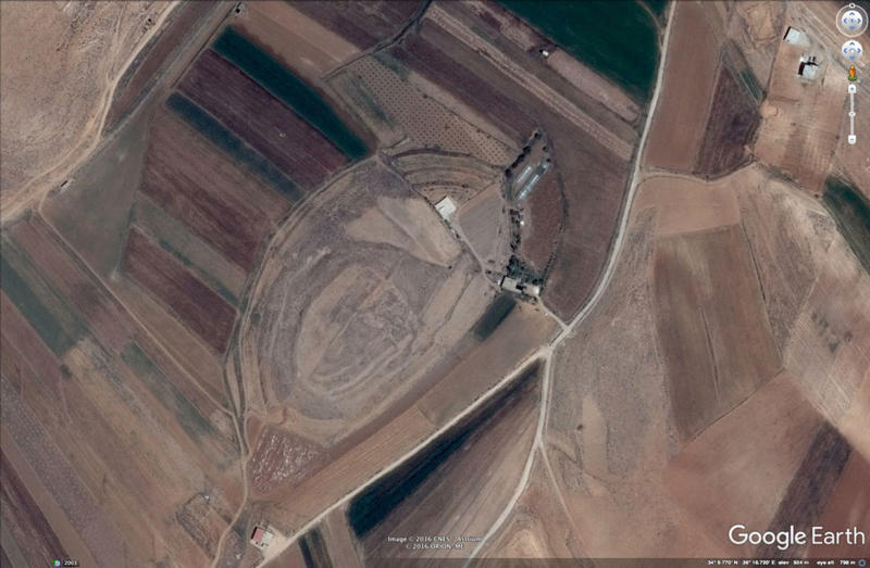 Figure D. Tell al Ayyun in the Beqaa Valley in Lebanon. This artificial mound had already been documented previously, but is also clearly visible on Google Earth. The multi-period archaeological site is damaged by terracing, landscaping (the NE part appe