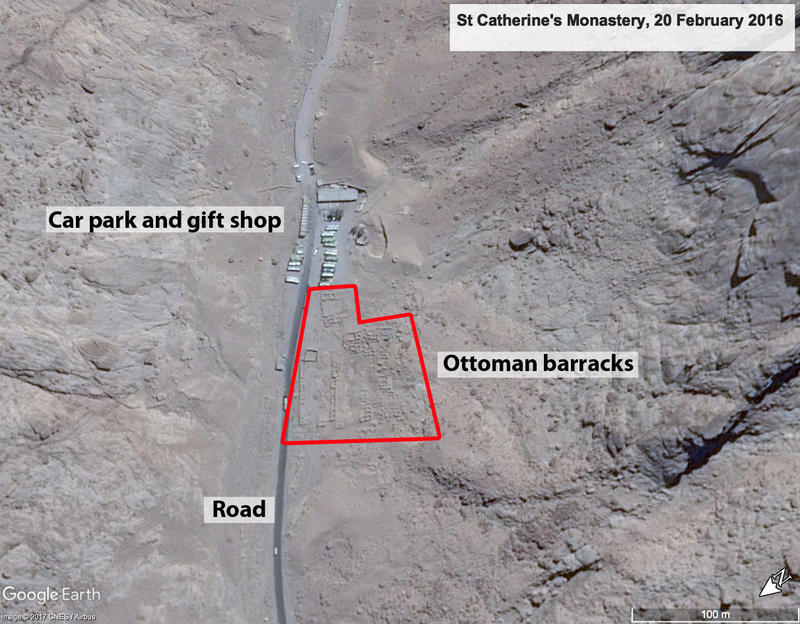 Figure 5 Google Earth imagery of Ottoman barracks near St Catherine's Monastery, 20 February 2016