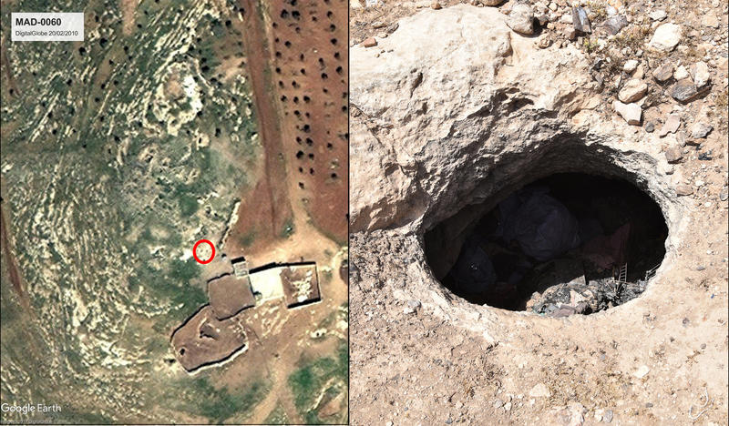 Figure 6: MAD-0060. The existence of an ancient village, as suspected from satellite imagery (left image) and historical sources could be confirmed. Structures, walls, and cisterns (right image) were present, as well as a pottery scatter indicating the si