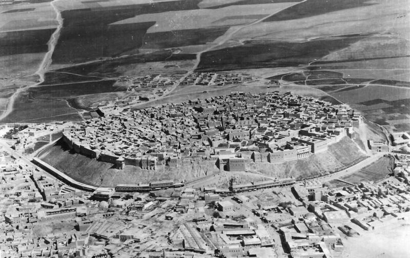 An aerial view of Erbil (Iraq) taken by a member of 55 Squadron RAF in the 1930s