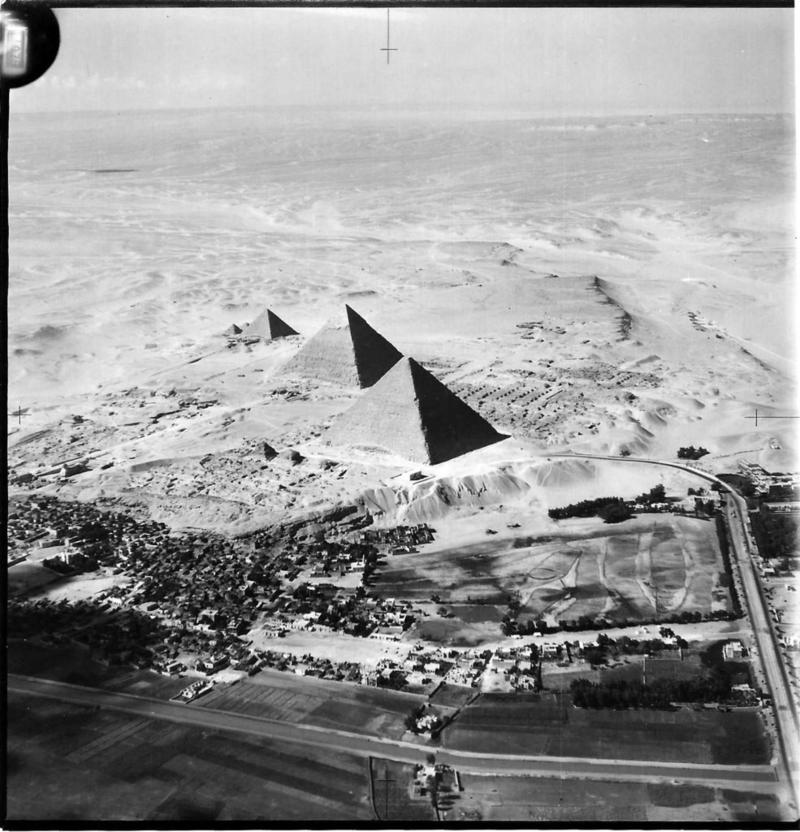 An aerial view of the pyramids of Giza (Egypt) taken by a member of 55 Squadron RAF in the 1930s