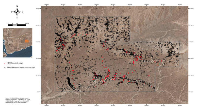 The distribution of ground (in red) and remote (black) survey sites in the eastern Hadramawt (map: Andrea Zerbini)