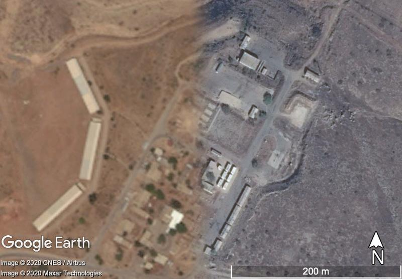 Fig. 1. A contrast of restricted and unrestricted satellite imagery of buildings in the West Bank, with a Maxar Technologies image (taken 22 August 2013) at 2m+ GSD on the left, and an Airbus image (taken 15 November 2013) at c.0.5m on the right. Map Data