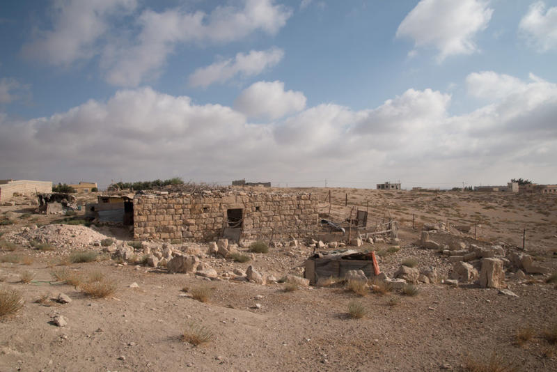 Reused stone in a building now used as a sheep pen, Mesheirfeh. Photograph: Rebecca Banks.