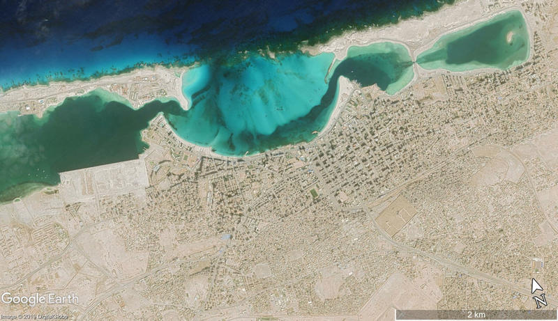 Figure 3. A DigitalGlobe satellite image from 21 November 2018 showing the modern extent of Mersa Matruh and changes to its coastline (Map Data: Google, DigitalGlobe).