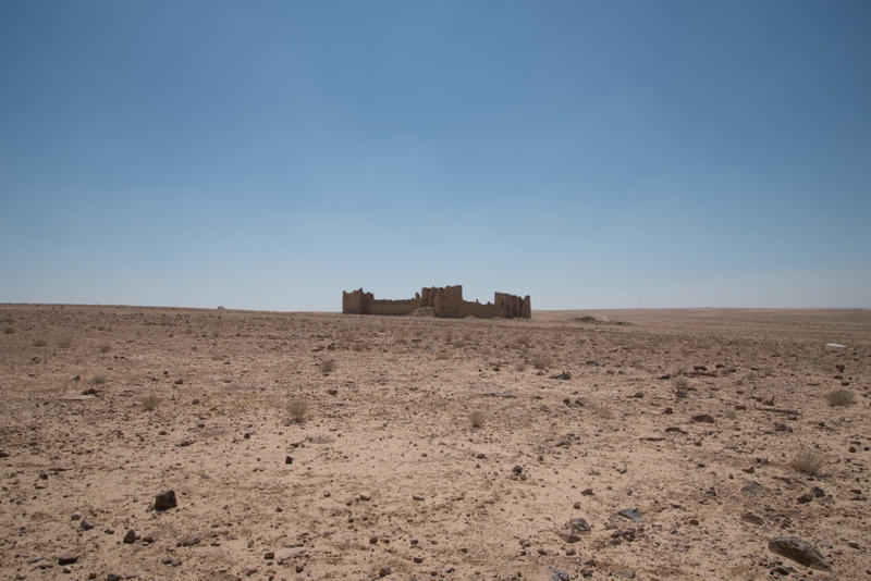 The very welcome sight of Qasr Bshir. Photograph: Rebecca Banks.