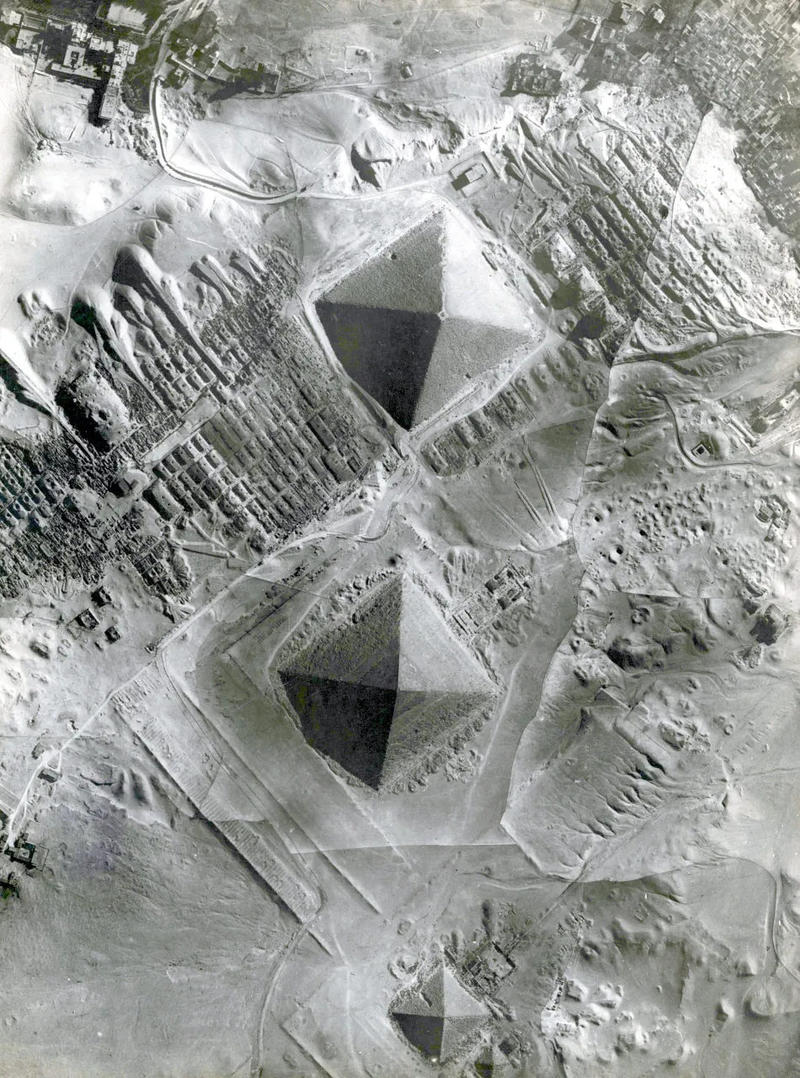 Fig.1. A 1930s vertical photograph over the pyramid complex at Giza, Egypt, generously shared with the project by Owen Masters.