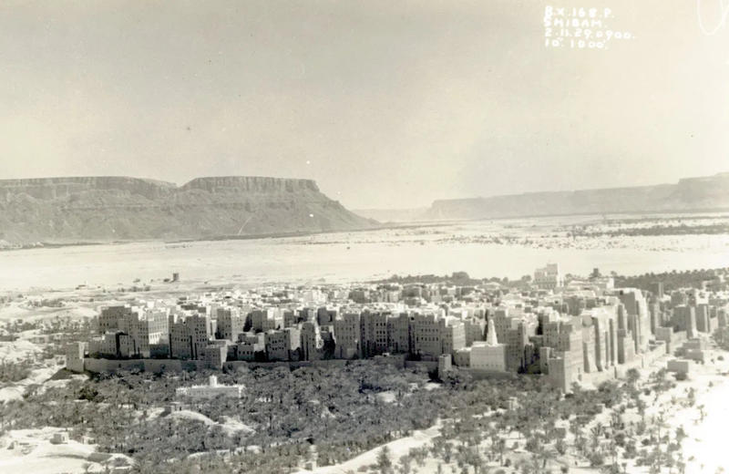 Fig.3. An oblique view of Shibam in Yemen taken on 2 November 1929 by a member of 8 Squadron RAF, generously shared the project by the Salt family. Fig,3. An oblique view of Shibam in Yemen taken on 2 November 1929 by a member of 8 Squadron RAF, generous