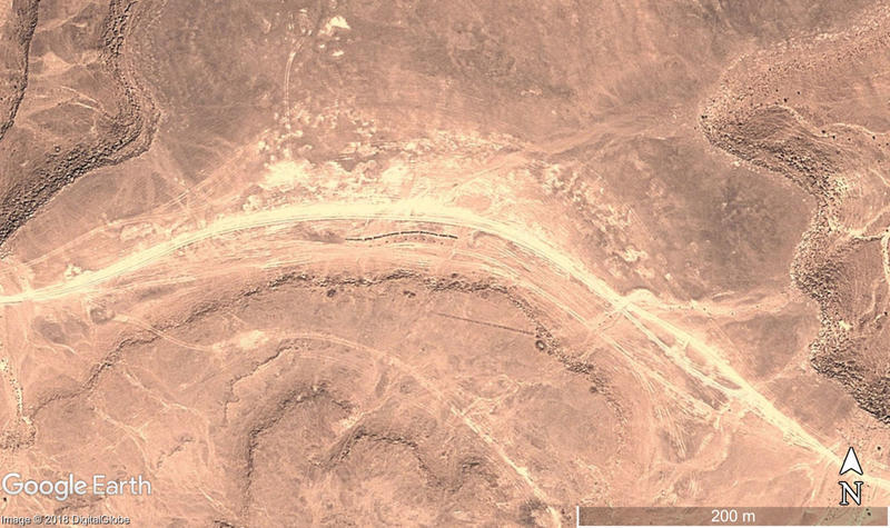 Figure 1: Prehistoric monuments, including pendant and trilith features, threatened by the impact of dirt-road tracks that have developed alongside. Satellite image: DigitalGlobe. Map data: Google Earth.