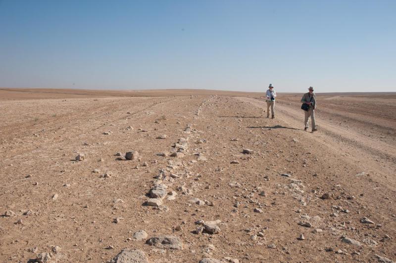 David Kennedy and Rebecca Banks walking beside the Roman road north of Thuraiya. Photograph: Robert Bewley.