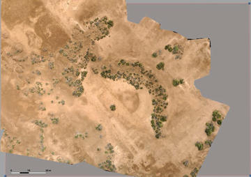 Figure 8: Kom ed-Dahab, Roman theatre captured by Kite. Marourad, G. From Space to Ground, Aerial Images and Geomagentic Survey at Kom ed-Dahab (Menzaleh Lake, Egyptian Eastern Delta, fig 3, p. 20).