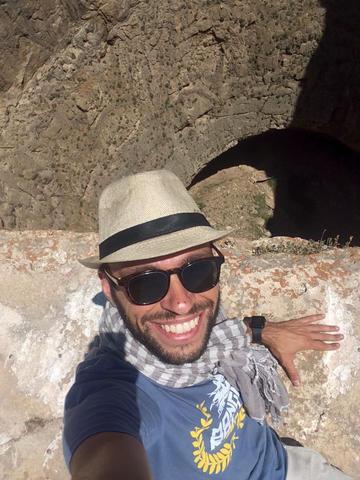 Andrea on top of the extinct volcano of Zendan-e-Soleiman, Iran, July 2017
