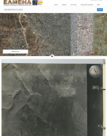 Fig. 2. An example of one of the aerial photographs (JORDAN_45B-SQN_JordanValley_Run-G_2543) and a modern satellite image of the area around Irbid above for comparison.